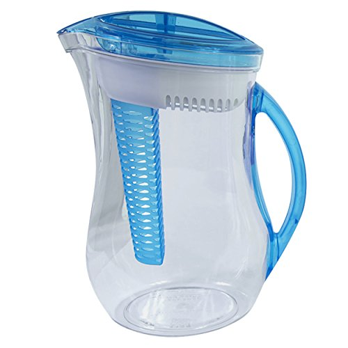 Cool Gear Water Filter Filtration Infuser Pitcher Plus Fruit Tea Flavor Infusion 2.44 LIter, Blue