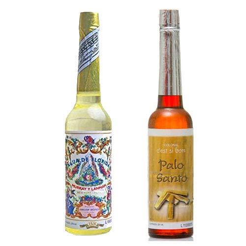 PACK DE DOS (2) BOTELLAS DE Agua de Florida 1 La Original Peru Amarilla 270 ml y otra de Agua Colonia de Palo Santo 211 ml original de Peru, refresca, promueve la concentración de los pensamientos.