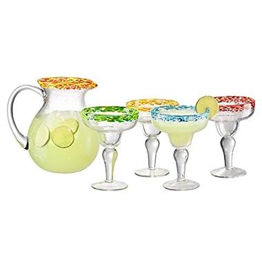 Artland 5 Piece Mingle Margarita Glass set and 1 Pitcher (Set of 4), Assortment