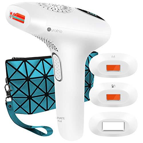 Lapurete Pro 8 IPL Haarentferner > 600.000 Lichtimpulse Dauerhafte Haarentfernungsgerät, Damen und Männer, für Körper, Bikinizone, Gesicht, Intimbereich, 7,8J/cm², mit spezieller Aufsätze