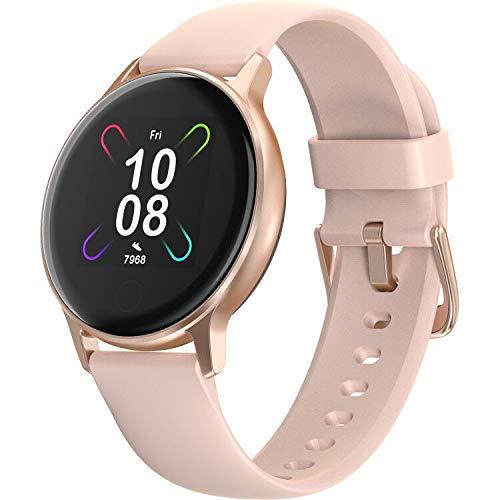 Smartwatch, UMIDIGI Uwatch 3S Fitnessuhr mit Blutsauerstoff-Monitor(SpO2), Pulsuhr, wasserdichte Smart Watch Aktivitätstracker mit Stoppuhr, Schrittzähler, Fitness Tacker für Damen Herren, Rosa Gold