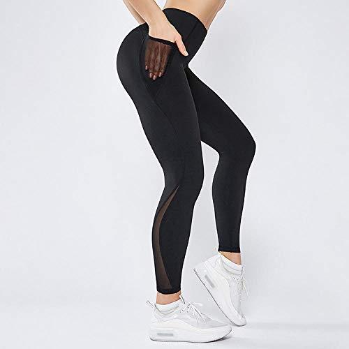 B/H Pantalon Taille Haute pour contrôler du Ventre,Collants de Fitness sans Couture Taille Haute, Pantalon de Yoga Respirant énergétique-Noir_S