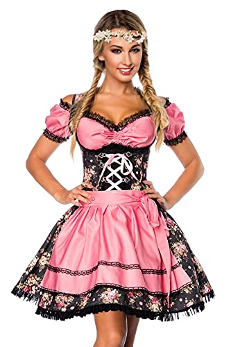 Dirndl Kleid Kostüm mit Bluse und Schürze aus Denim Stoff und Spitze Oktoberfest Dirndl schwarz/rosa M