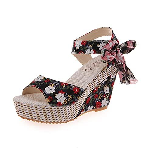 DZQQ Lucyever été Plage Boho Floral Sandales compensées Femmes Bride à la Cheville Plate-Forme Gladiateur Chaussures Femme Talons Hauts
