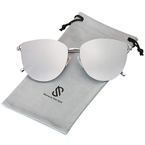SOJOS Retro Runde Katzenaugen Sonnenbrille Mirrored Metall Flach Linsen SJ1085 mit Silber Rahmen/Silber Linse