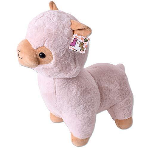 TE-Trend XXL Plüsch Alpaka Alpaca Lama Plüschtier Kuscheltier Deko Stofftier Kinder Baby Geschenk 40 cm Hellbraun