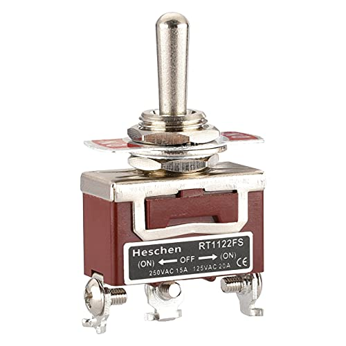 Heschen Interrupteur à bascule métallique SPDT momentané (ON)/OFF/(ON) 3 positions 15 A 250 VAC CE