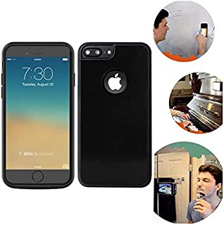 Wingcases for iPhone 8 Plus / 7 Plus / 6s Plus / 6 Plus Anti Gravity Black Phone Case, Magic Nano Sticky Cover, 5.5 inch Suction Stick on The Mirror Window Wall Selfie Case with Back Dust Proof Film