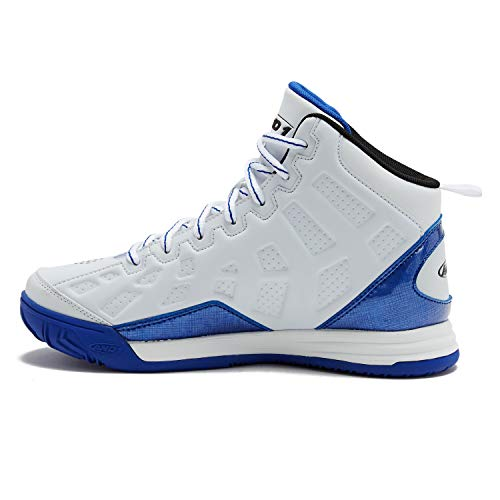 AND1 Kids Show Out Basketball Shoe, 4 M US Big Kid White/Royal