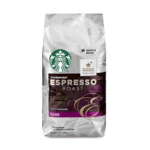 Starbucks Espresso Roast Dark Roast Whole Bean Coffee, 12 Ounce (Pack of 6)