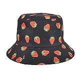 Sombrero de Pescador con Estampado de Fresa para Hombre, Sombrero de protección Solar para el Ocio al Aire Libre, Sombrero de Primavera y otoño M56-58cm Negro