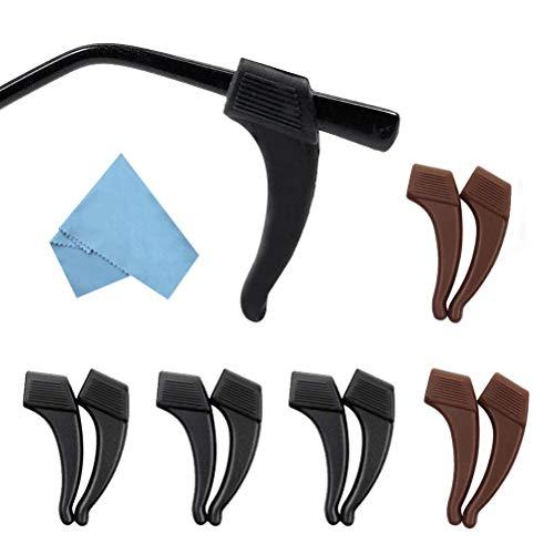 Haokey 5 Paare Antirutsch Brillenbügel, Weich Gläser Ohrbügel Brillenbügel Fassungshalter Ohr Grip Haken Silikon Fassungshalter für Brille(3 Paar Schwarz, 2 Paar Braun)