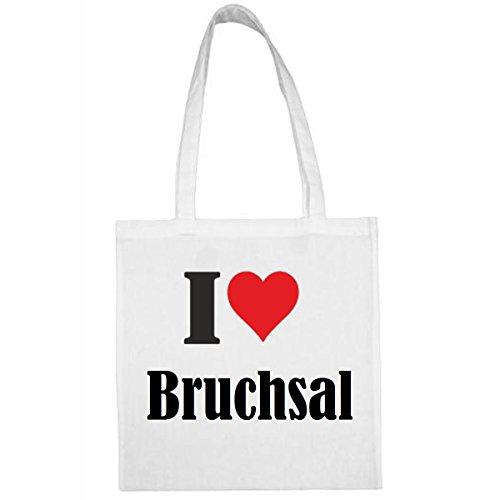Tasche I Love Bruchsal Größe 38x42 Farbe Weiss Druck Schwarz