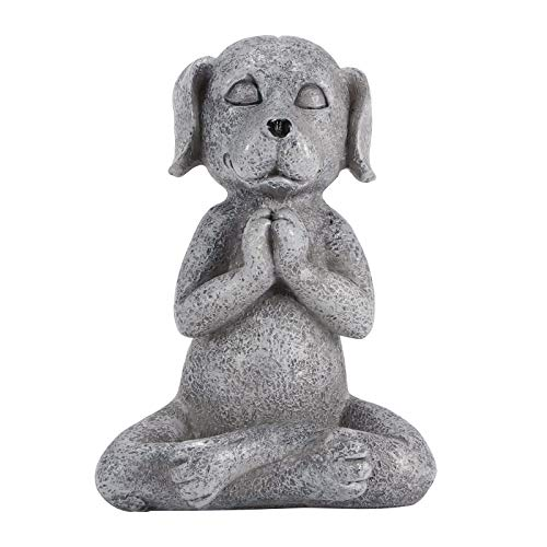LOVSE Animal méditant Yoga Statut Chien Figurine Résine Jardin Ornement Extérieur Portable Bouddha Zen Méditation...