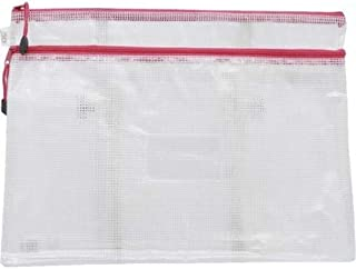 Roco RQ-FB8042PNK A4 Topload Opening Document Pouch, Clear-Pink Accent