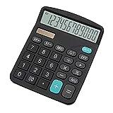 Calcolatrice,YEBMoo calcolatrice da tavolo 12 cifre con ampio display elettronico. Calcolatrice a energia solare e batterie AA, colore nero (Calculator-black)