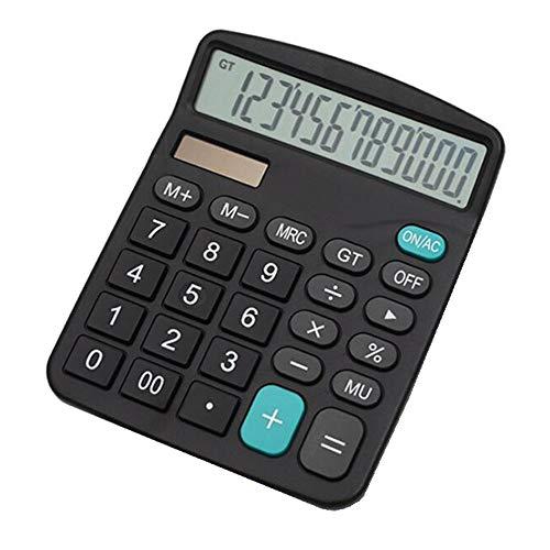 Tischrechner/Taschenrechner,YEBMoo 12 Zeichen, große Tasten, Solar, für Schule, Zuhause, Büro, Batterie enthalten, schwarz, Bedienungsanleitung (Calculator-black)
