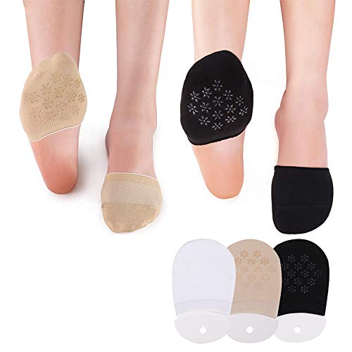 Jodimitty Damen Socke Zehlinge Füßlinge 3/6 Paar Rutschfest Baumwolle Silkon Atmungsaktiv Unsichtbare Socke