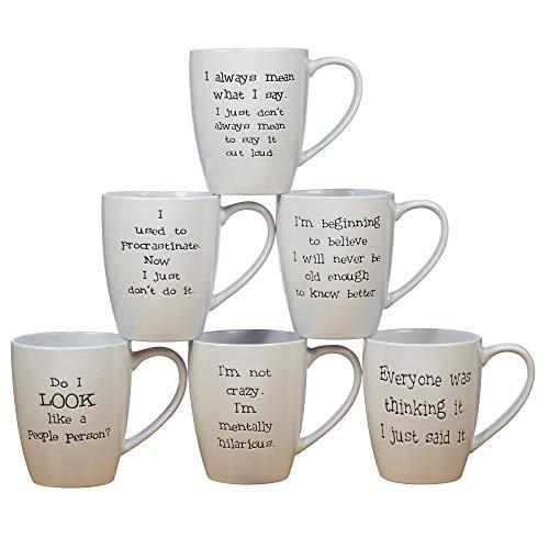 Certified International State of Mind 22 oz. Mugs, 6 Assorted Saying,