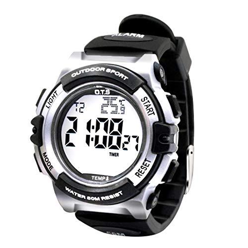 OTS - Reloj de Pulsera de Niño Multifuncionales para Resistente al Agua Deporte al Aire Libre Reloj de Digital con Medicion de Temperatura Recordatorio de Despertador Gris
