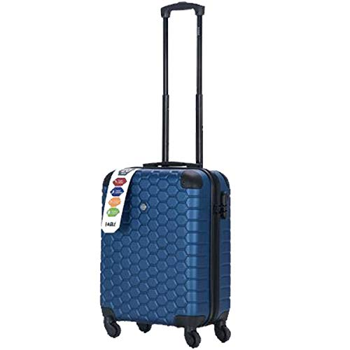 37L London Hexagon ABS Trolley Case Shopping Trolley, 2021 Model Large Capacity Shopper, Cart Design Essential Durable Stable Wheeled Bag (Navy)