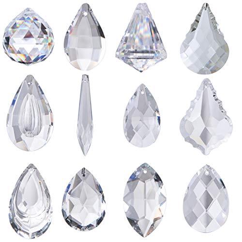 H&D 12 Stück Klar Kristall Kronleuchter Lampe Beleuchtung Tropfen Anhänger Kugeln Prismen zum Aufhängen Glas Prismen Teile Regenbogen sonnenfänger Zuhause Dekor