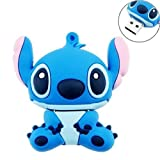 Novelty Stitch Blue Shape Design 16GB USB 2.0 Flash Drive Cute Memory Stick Stitch Thumb Drive Data Storage Pendrive Cartoon Jump Drive Gift