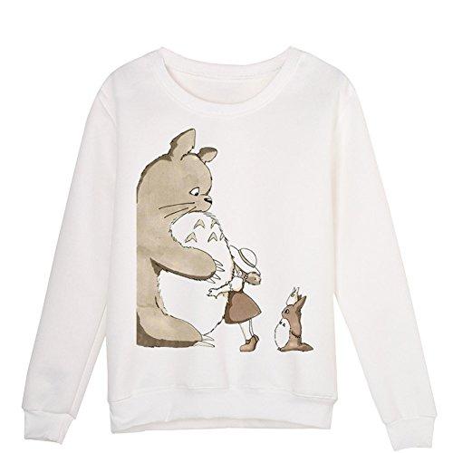 CTOOO Niedliche Cartoon Paar Sweatshirt Damen Totoro Kreativer 3D-Druck Rundhals Pullover Tops