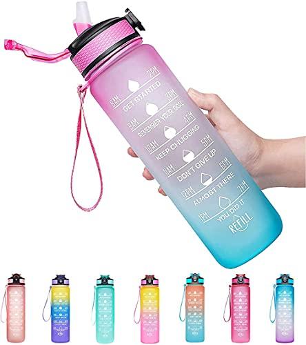 Botella de Agua Deportiva,Botella de Agua con Marcas de Tiempo Tritan Plástico-Rosa Verde_1000ML,Botella de Agua Tritan a Prueba de Fugas sin BPA Botellas Deportivas