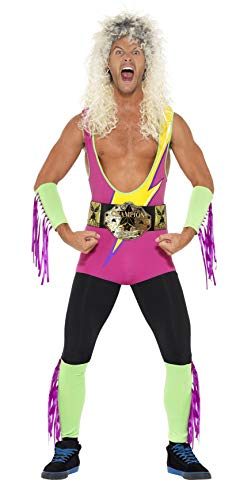 Smiffys Men's Retro Wrestler Costume, Bodysuit, Belt, Arm and Leg Cuffs,Back to the 90's, Serious Fun, Size M, 27561