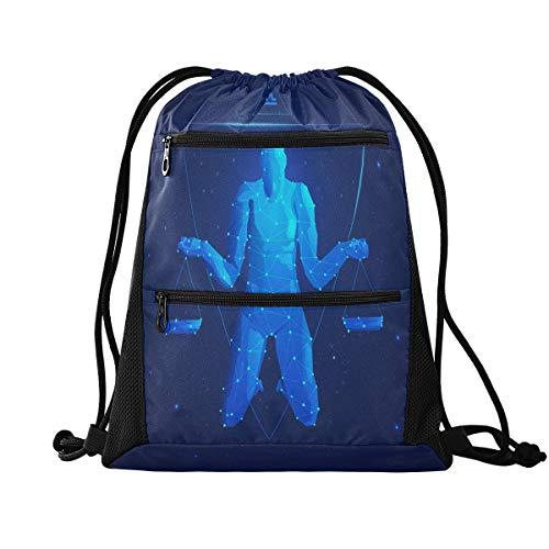 Rucksack mit Kordelzug – Sternenhimmel-Waage, Kordelzug-Tasche mit Reißverschlusstasche, Sporttasche für Tanz, Schwimmen