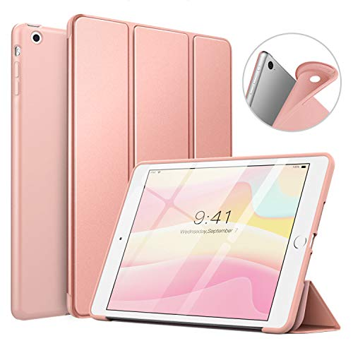 MoKo Funda Compatible con iPad Mini 3/2 / 1, Superior Delgada Protectora Case con Tapa Trasera Esmerilada Translúcida Compatible con Apple iPad Mini 1/Mini 2/Mini 3 - Oro Rosa