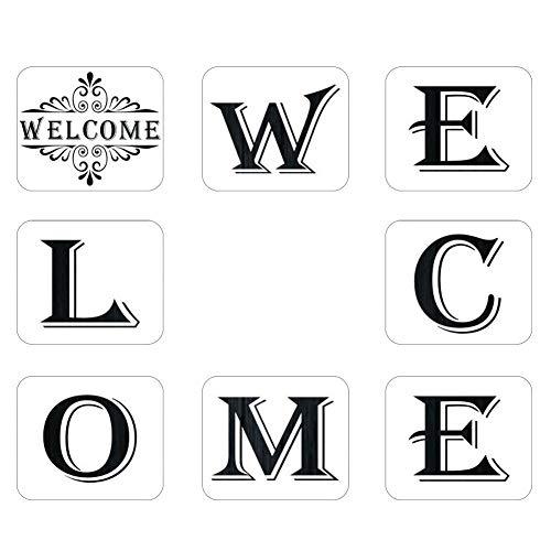 Schablonen Buchstaben Schablone Kunststoff-Schablonen Willkommensschild Schablonen Große Kunststoff Wiederverwendbare Einzelne Buchstaben Alphabet Zeichenvorlagen Für Hotel Home Veranda Dekorationen
