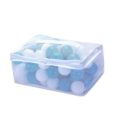 カラーボール おもちゃボール 白青100個 直径5.5cm やわらかポリエチレン製 収納ネットセット(プール/ボー...