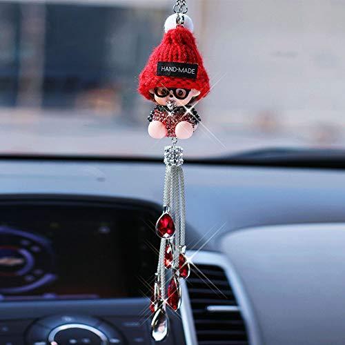 Shiwen Boutique auto ciondolo bambola moda cristallo diamante specchio retrovisore ornamenti decorativi per le donne (nome colore: rosso)