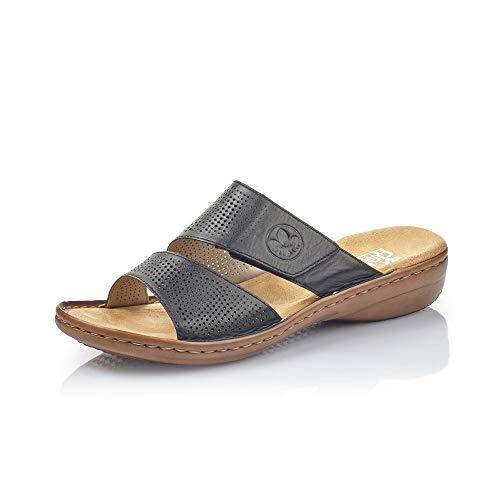 Rieker Damen ClogsPantoletten 60812, Frauen Clogs, Slides Sandale sommerschuh freizeitschuh Damen Frauen weibliche Ladies,schwarz / 00,40 EU / 6,5 UK