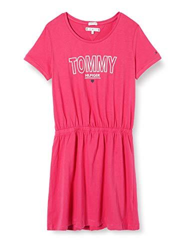Tommy Hilfiger Mädchen Jersey Tee Dress S/s Kleid, Rot (Blush Red Xif), 6-7 Jahre (Herstellergröße: 6)