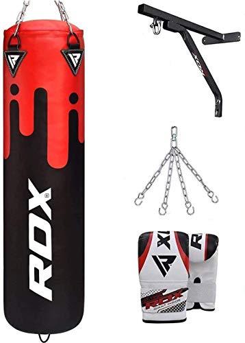 RDX Boxsack Set Gefüllt Kickboxen MMA Muay Thai Boxen mit wandhalterung Stahlkette Training Handschuhe Kampfsport Schwer Punchingsack Gewicht 4FT 5FT 4PC Punching Bag (MEHRWEG)