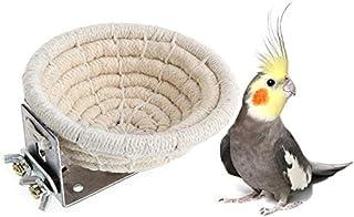Bird Breeding Nest Bed Hut Toy with Warm Comfortable Mat Handmade Cotton Weave Hemp Rope Hatching Hut Cave Cage Accessorie...