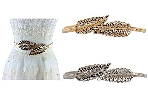 Lenhart, cinturón metálico elástico para mujer con cierre de broche de hojas, 2unidades, dorado y plateado