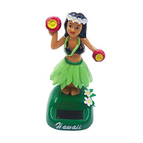 Amosfun Energía Solar Juguete de Muñeca Hawaiana Figura Oscilante de Bailarina Ornamento de Salpicadero Bailante Juguete Decorativo (Verde Claro)