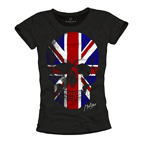 MAKAYA Camiseta Bandera Inglesa Mujer Negra M