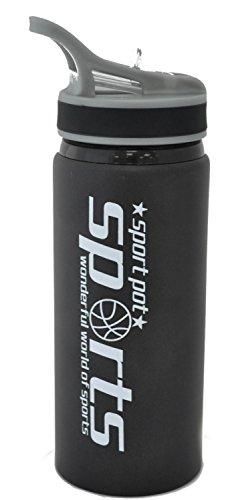 600ml con pajita Bebidas Botella de agua de deporte de hidratación negro ciclismo senderismo cuerpo de aluminio
