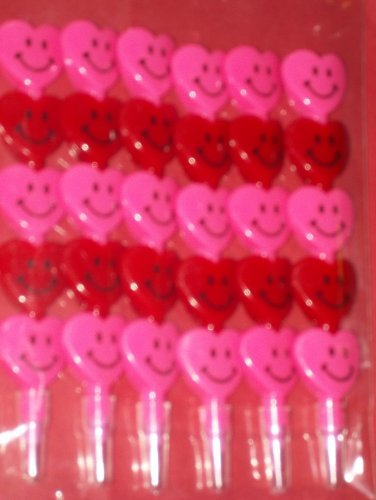 SET OF 6 STACKABLE VALENTINES PINK/RED HEARTS POP POINT PENCILS & SET OF 6 STACKED HEARTS RED & PINK CRAYONS