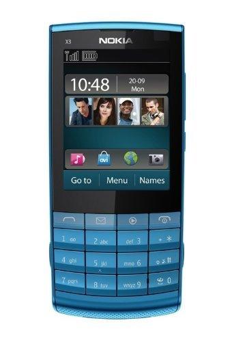 Unlocked Nokia X3-02 Ultrathin Bar Touch screen Handwriting Music Female mobile phone Hot-selling (Blue) [並行輸入品]