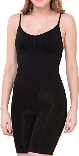 UnsichtBra Shapewear Damen Bauch Weg Body | Bauchweg Unterwäsche mit Korsett - Funktion | Bodyshaper für Frauen mit Bein in schwarz und beige (sw_2200)(XL (48-54),Schwarz)