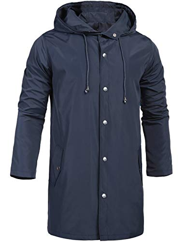 ZEGOLO Waterproof Rain Jacket for Men Winter Hooded Outdoor Travel Lightweight Windbreaker Shell Men's Rain Coats Long Navy Blue Small