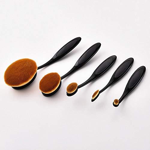 MEIMEIDA Pinceaux de maquillage Set Black/Rose Gold Poudre Definer Shader Brosses Foundation Professional Kits de pinceaux poudre de fondation, Noir