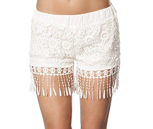 Damen Häkel-Shorts in weiß mit Gummibund und Fransen Kurze Hose luftig S