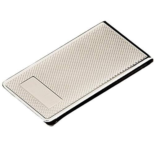 silberkanne - Fermasoldi in Argento scanalato, con Campo per Incisione, 6 x 3 cm, Placcato Argento